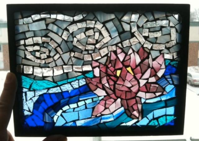 Lotus, glass on glass
