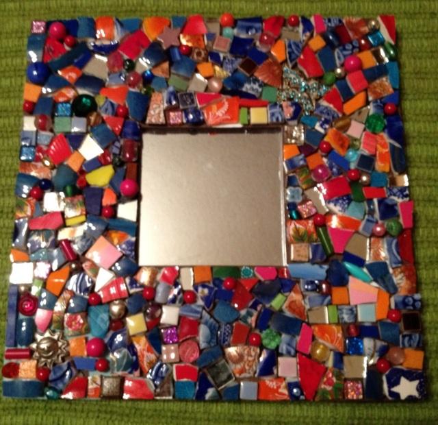 Crazy quilt mosaic mirror
