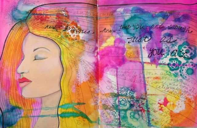 mixed media woman with words in her hair